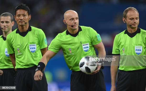 Referee Szymon Marciniak and his assistants during the 2018 FIFA World Cup Russia group F match between Germany and Sweden at Fisht Stadium on June...