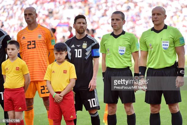 Referee Szymon Marciniak during the 2018 FIFA World Cup Russia group D match between Argentina and Iceland at Spartak Stadium on June 16 2018 in...