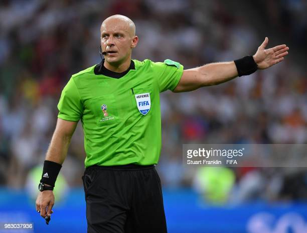 Referee Szymon Marciniak during the 2018 FIFA World Cup Russia group F match between Germany and Sweden at Fisht Stadium on June 23, 2018 in Sochi,...