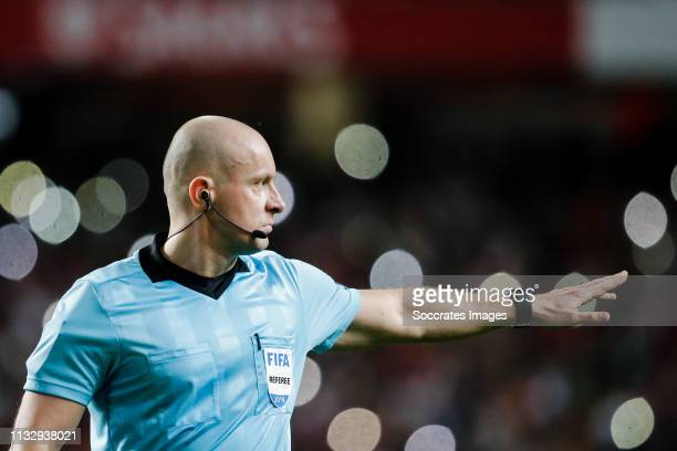 Referee Szymon Marciniak during the EURO Qualifier match between Portugal v Serbia at the Estádio da Luz on March 25, 2019 in Lisbon Portugal