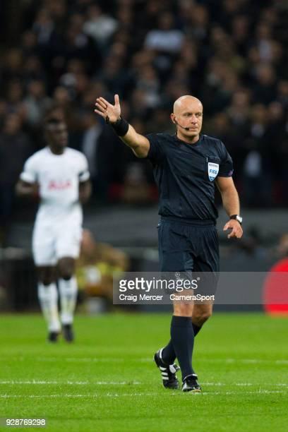 Referee Szymon Marciniak during the UEFA Champions League Round of 16 Second Leg match between Tottenham Hotspur and Juventus at Wembley Stadium on...