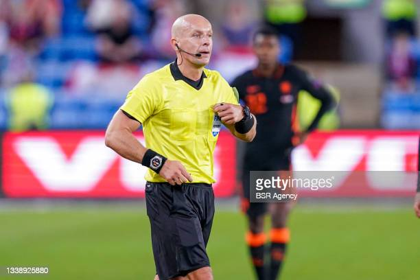 Referee Szymon Marciniak during the World Cup Qualifier match between Norway and Netherlands at Ullevaal Stadium on September 1, 2021 in Oslo, Norway