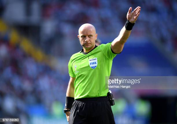 Referee Szymon Marciniak in action during the 2018 FIFA World Cup Russia group D match between Argentina and Iceland at Spartak Stadium on June 16,...