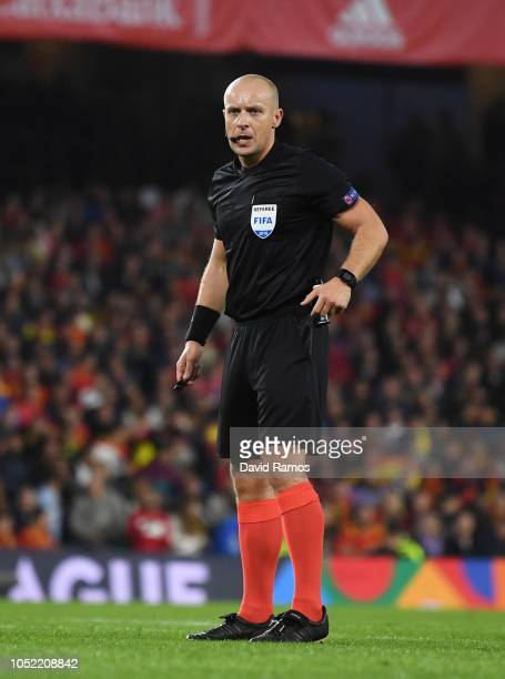 Referee Szymon Marciniak looks on during the UEFA Nations League A Group Four match between Spain and England at Estadio Benito Villamarin on October...