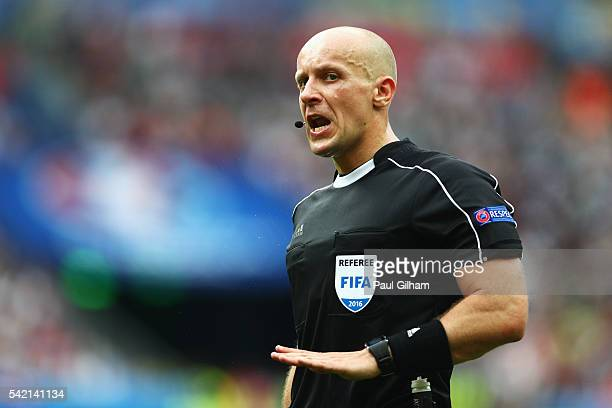 Referee Szymon Marciniak of Poland during the UEFA EURO 2016 Group F match between Iceland and Austria at Stade de France on June 22, 2016 in Paris,...