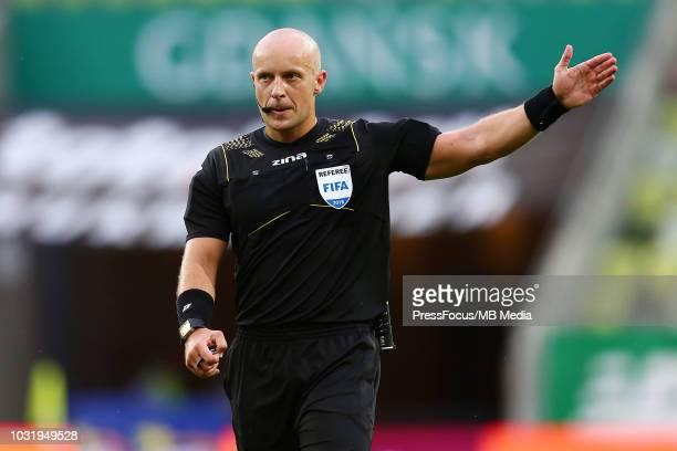 Referee Szymon Marciniak reacts during Lotto Ekstraklasa match between Lechia Gdansk and Miedz Legnica on August 10, 2018 in Gdansk, Poland.