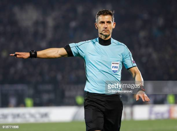 Referee Tasos Sidiropoulos of Greece in action during UEFA Europa League Round of 32 match between Partizan Belgrade and Viktoria Plzen at the...