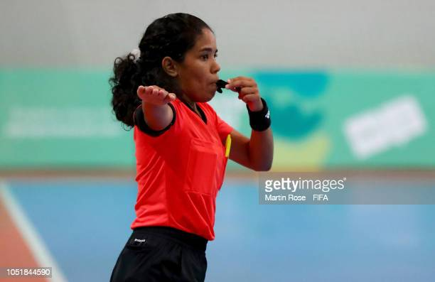 Referee Tayana Moreno of Venezuela gestures in the Women's Group D match between Cameroon and Portugal during the Buenos Aires Youth Olympics 2018 at...