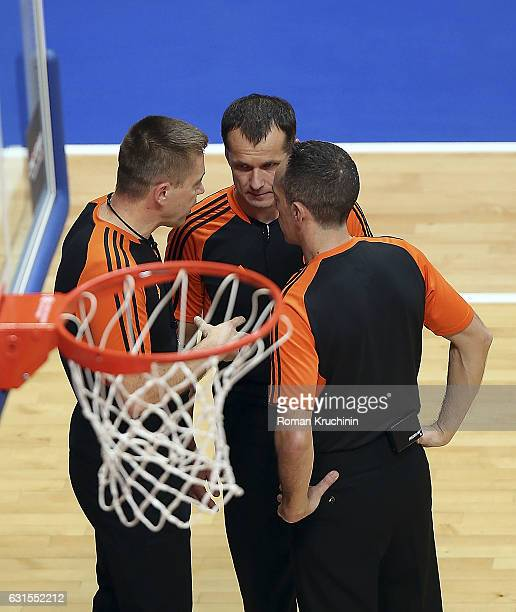 Referee team in action during the 2016/2017 Turkish Airlines EuroLeague Regular Season Round 17 game between Unics Kazan v Brose Bamberg at Basket...