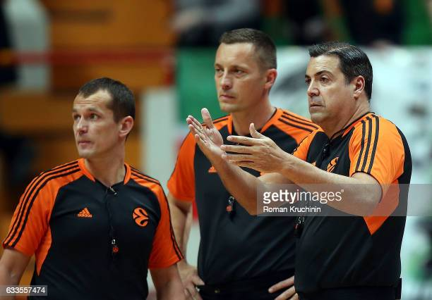 Referee team in action during the 2016/2017 Turkish Airlines EuroLeague Regular Season Round 21 game between Unics Kazan v Olympiacos Piraeus at...
