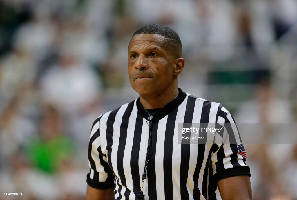 Referee Ted Valentine during the Michigan State Spartans and Michigan Wolverines game at Breslin Center on January 13, 2018 in East Lansing, Michigan.