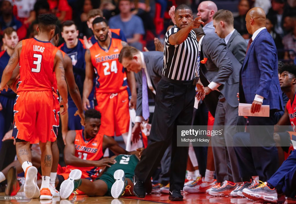 NCAA Referee Ted Valentine Makes A Call During The Illinois Fighting Illini  Versus Michigan State Spartans