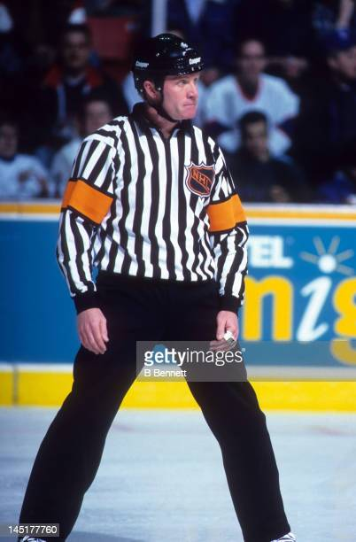 Referee Terry Gregson follows the play during an NHL game with the Winnipeg Jets in March 1995 at the Winnipeg Arena in Winnipeg Manitoba Canada