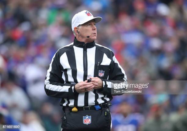 NFL referee Terry McAulay looks on during the Buffalo Bills NFL game against the New Orleans Saints at New Era Field on November 12 2017 in Buffalo...
