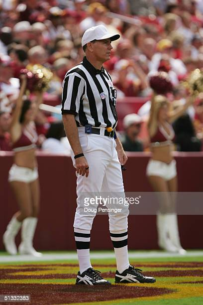 Referee Terry Mcaulay looks on the field during the game between the Tampa Bay Buccaneers and the Washington Redskins at FedEx Field on September 12...