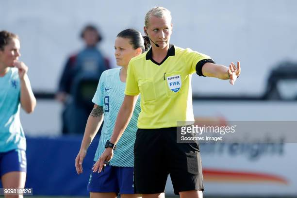 referee Tess Olofsson during the World Cup Qualifier Women match between Northern Ireland v Holland at the Shamrock Park on June 8 2018 in Craigavon...