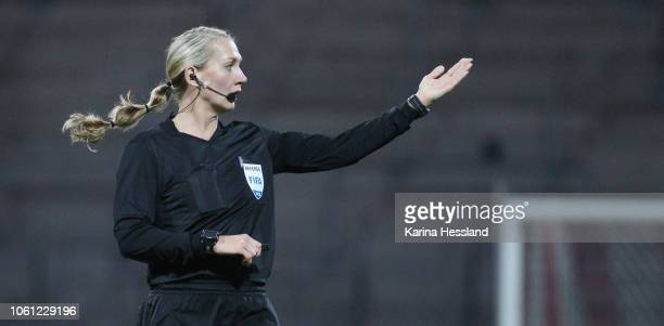 Referee Tess Olofsson reacts during the Germany Women v Spain Women International Friendly at Arena Erfurt on November 13 2018 in Erfurt Germany