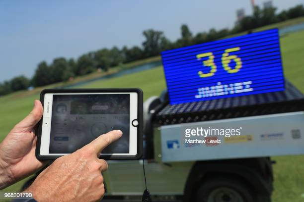A referee tests the 'Shot Clock' system during the ProAm of The 2018 Shot Clock Masters at Diamond Country Club on June 6 2018 in Atzenbrugg Austria