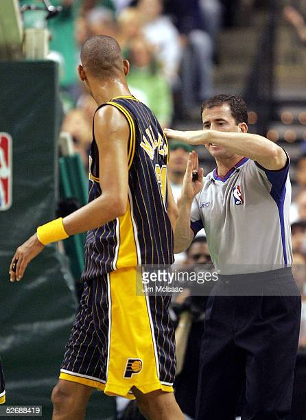 Referee Tim Donaghy calls a technical foul on Reggie Miller of the Indiana Pacers in Game one of the Eastern Conference Quarterfinals against the...