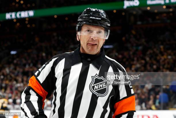 Referee Tim Peel during Game 2 of the Second Round 2019 Stanley Cup Playoffs between the Boston Bruins and the Columbus Blue Jackets on April 27 at...