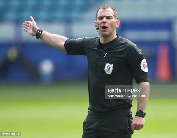 Referee Tim Robinson during the Sky Bet Championship match between Sheffield Wednesday and Nottingham Forest at Hillsborough Stadium on May 1, 2021...