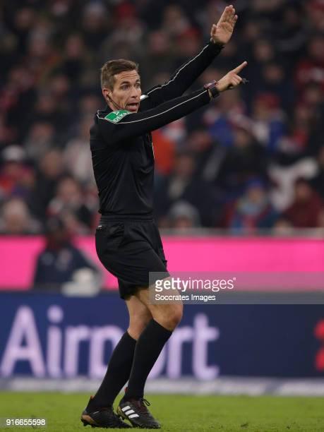 referee Tobias Stieler during the German Bundesliga match between Bayern Munchen v Schalke 04 at the Allianz Arena on February 10 2018 in Munich...