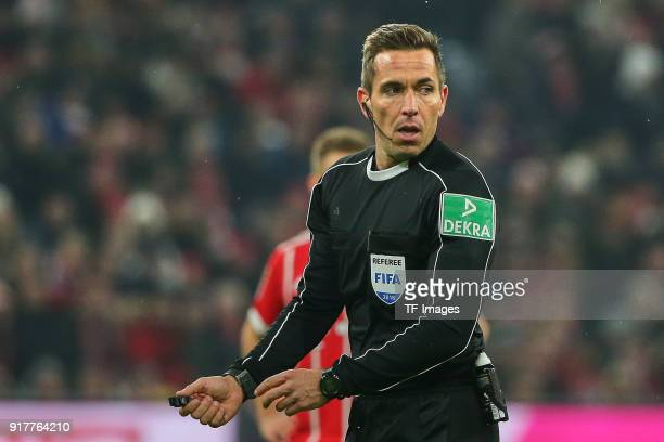 Referee Tobias Stieler looks on during the Bundesliga match between FC Bayern Muenchen and FC Schalke 04 at Allianz Arena on February 10 2018 in...