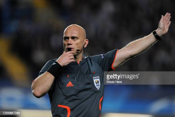 Referee Tom Henning Ovrebo during the UEFA Champions League semi final second leg match between Chelsea and Barcelona at Stamford Bridge on May 6,...