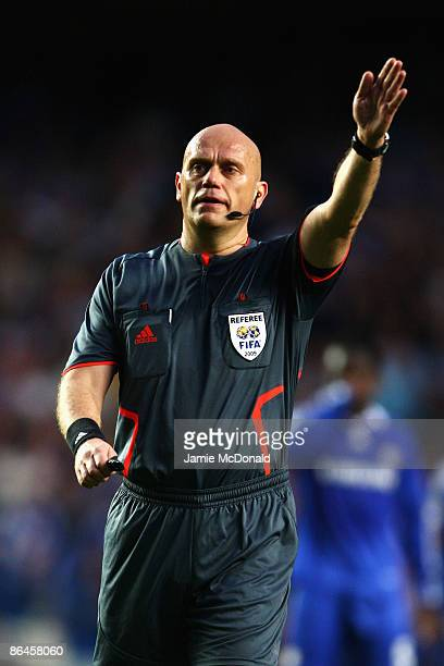 Referee Tom Henning Ovrebo makes a decision during the UEFA Champions League Semi Final Second Leg match between Chelsea and Barcelona at Stamford...