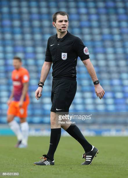 Referee Tom Nield in action during the Checkatrade Trophy Round 2 match between Portsmouth and Northampton Town at Fratton Park on December 2 2017 in...
