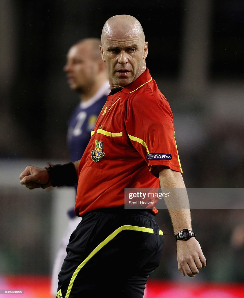 Referee Tomas Connolly during the Carling Nations Cup match between Northern Ireland and Scotland at the Aviva Stadium on February 9, 2011 in Dublin, Ireland.