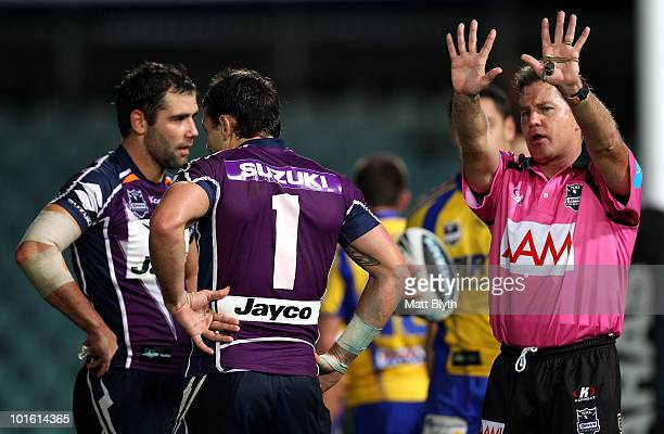 Referee Tony Archer sends Billy Slater of the Storm to the sinbin during the round 13 NRL match between the Parramatta Eels and the Melbourne Storm...