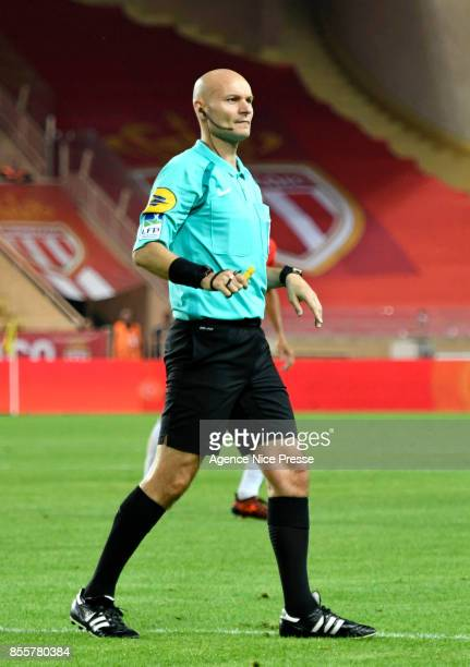Referee Tony Chapron during the Ligue 1 match between AS Monaco and Montpellier Herault SC at Stade Louis II on September 29 2017 in Monaco