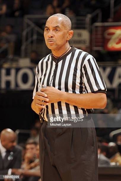 Referee Tony Greene looks on during a college basketball game between the Pittsburgh Panthers and the Georgetown Hoyas on January 8 2013 at the...