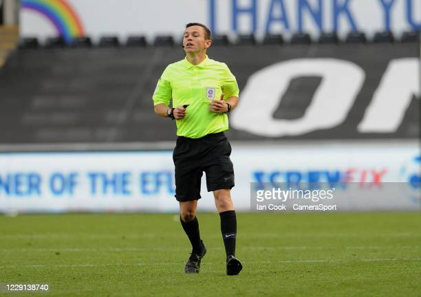 Referee Tony Harrington during the Sky Bet Championship match between Swansea City and Huddersfield Town at Liberty Stadium on October 17 2020 in...
