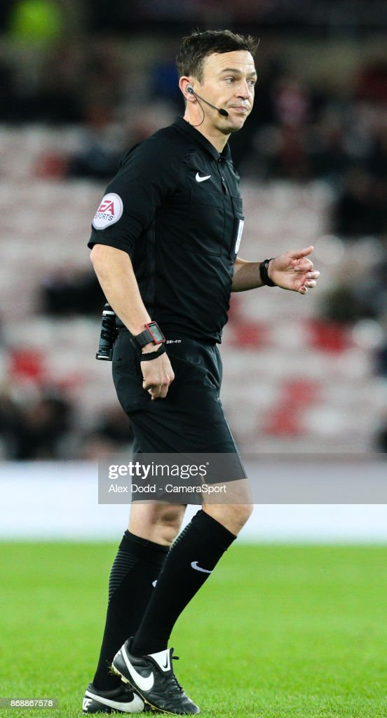 Referee Tony Harrington during the Sky Bet Championship match between Sunderland and Bolton Wanderers at Stadium of Light on October 31, 2017 in Sunderland, England.