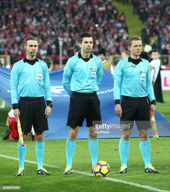 Referee Tore Hansen during the international friendly soccer match between Poland and South Korea national football teams at the Silesian Stadium in...