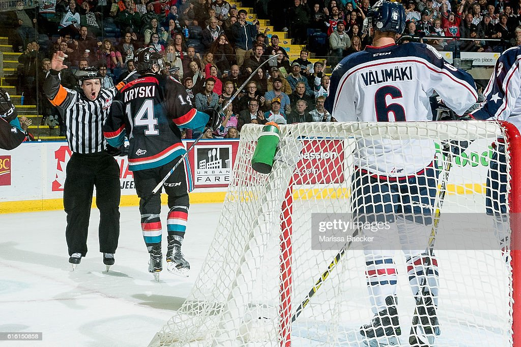 Referee Troy Paterson calls no goal by the Kelowna Rockets against the Tri-City Americans on October 21, 2016 at Prospera Place in Kelowna, British Columbia, Canada.