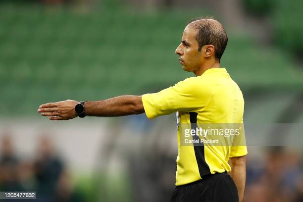 Referee Turki Mohammed Al Khudayr signals a penalty to Ola Toivonen of the Victory during the AFC Champions League Group E match between Melbourne...