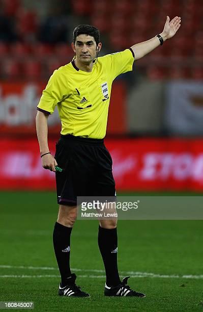 Referee Undiano Mallenco in action during the International Friendly match between Greece and Switzerland at Karaiskakis Stadium on February 6 2013...