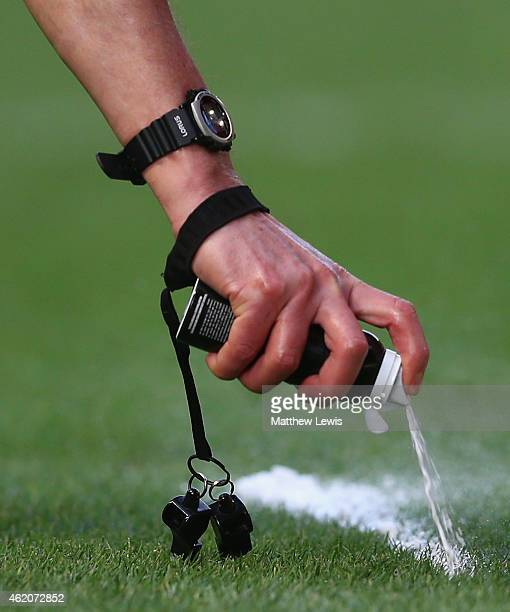 Referee uses vanishing spray ahead of a freee kick during the Sky Bet Championship match between Wolverhampton Wanderers and Charlton Athletic at...