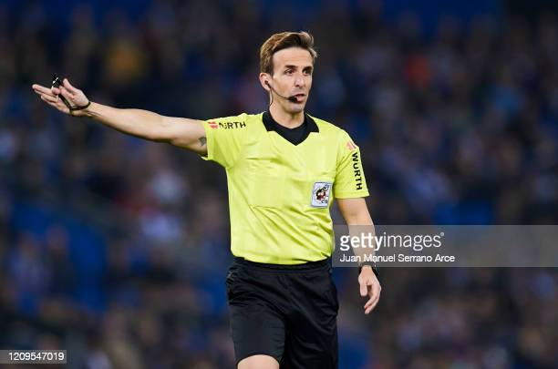 Referee Valentin Pizarro Gomez reacts during the Liga match between Real Sociedad and Real Valladolid CF at Estadio Anoeta on February 28 2020 in San...