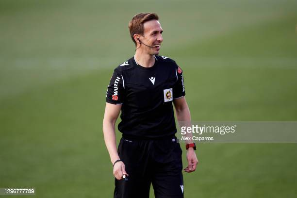 Referee Valentin Pizarro Gomez smiles during the Copa del Rey round of 32 match between Girona FC and Cadiz CF at Montilivi Stadium on January 16,...