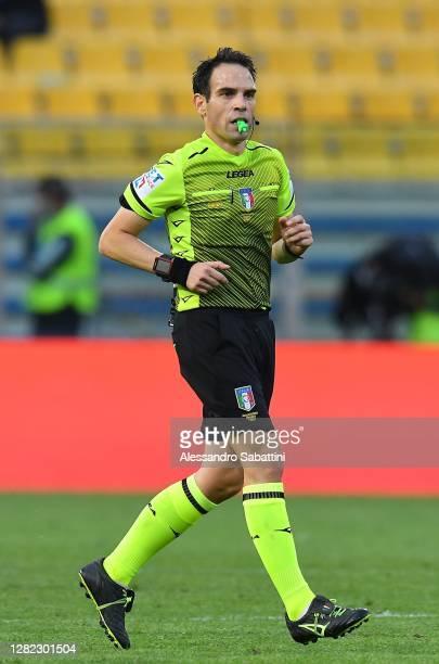 Referee Valerio Marini during the Serie A match between Parma Calcio and Spezia Calcio at Stadio Ennio Tardini on October 25, 2020 in Parma, Italy.