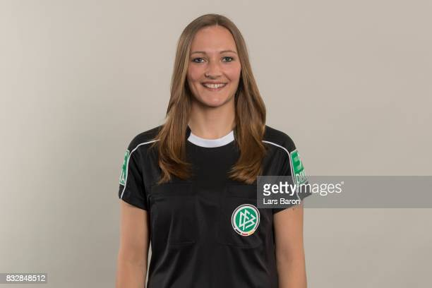 Referee Vanessa Arlt poses during a DFB photocall at Sportschule Kaiserau on August 12 2017 in Kamen Germany