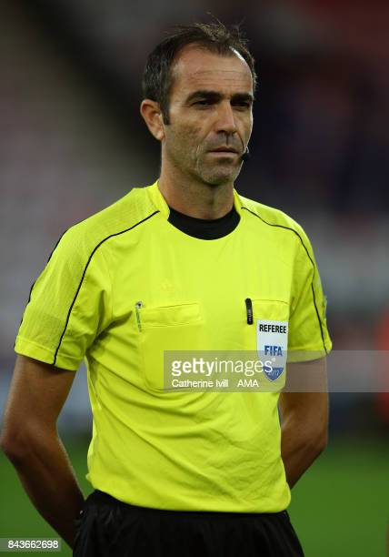 Referee Vasilis Dimitriou during the UEFA Under 21 Championship Qualifier match between England and Latvia at Vitality Stadium on September 5 2017 in...