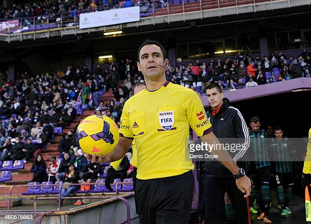 Referee Velasco Carballo takes to the field before the La Liga match between Real Valladolid CF and Real Betis Balompie at Estadio Jose Zorilla on...