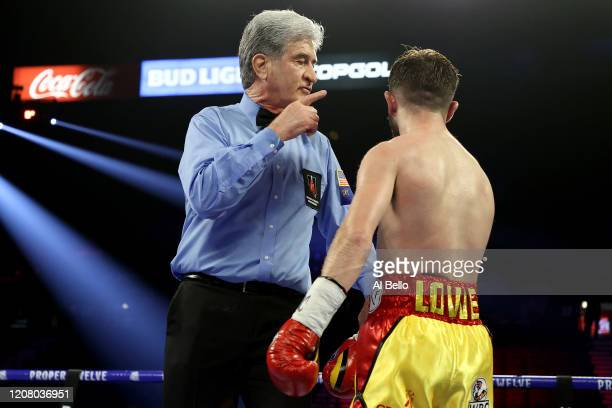 Referee Vic Drakulich speaks to Isaac Lowe during his featherweight bout against Alberto Guevara on February 22 2020 at MGM Grand Garden Arena in Las...
