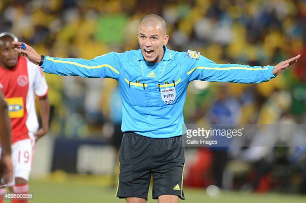 Referee Victor Gomes during the Absa Premiership match between Mamelodi Sundowns and Ajax Cape Town at Loftus Stadium on February 15, 2014 in...