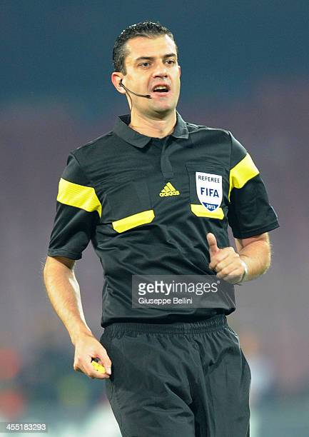 Referee Viktor Kassai during the UEFA Champions League Group F match between SSC Napoli and Arsenal at Stadio San Paolo on December 11 2013 in Naples...